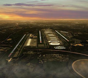 The north west runway (left) would be the third runway at Heathrow airport if built